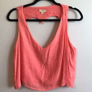 NWOT Lily White Peach Heart Open Back Crop Top
